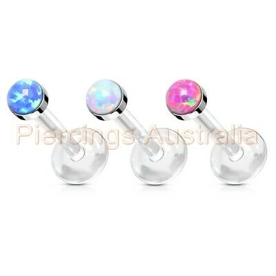 16G Opal Top Bioflex Labret Lip Bar Stud Body Piercing Jewellery
