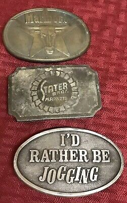 Vintage Stater Bros Market Pewter/Marlboro Belt Buckle Lot Of 3 ***Rare HTF***