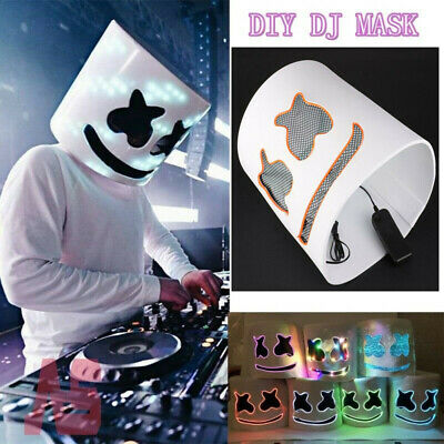 LED MarshMello-DJ DIY Mask Full Head Helmet Cosplay Marshmallow-Bar Music Prop