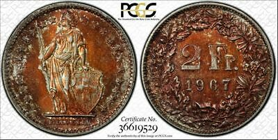 1967-B Switzerland Silver 2 Francs Pcgs Ms64 Color Toned Coin In High Grade