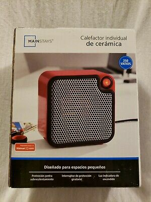 Mainstays Small Personal Electric Portable Ceramic Space Heater 250 Watt Red