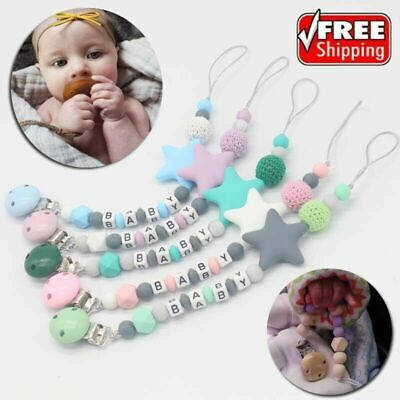 Baby Silicone Teething Soother Bead Infant Dummy Clip Pacifier Chain Chew Toys