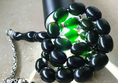 Antike Dark Black - Green Bakelite? Amber? Gebetskette Tesbih Prayer Beads Rare