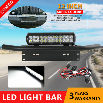 12'' CREE LED Light Bar Combo Beam +23'' Number Plate Frame Mount Bracket +Wire