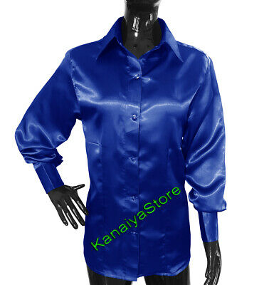 802aad51279476 Royal Blue Satin Long Sleeve Shirt Blouse For Girls Lady Casual Office Wear  Top