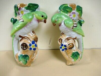 "Vintage Parrot Bird Art Deco Pottery Wall Pocket Vase Made In Japan 7.5"" Tall*F2"