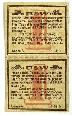 B & W Ticket Coup Series A Brown Williamson Raleigh Belair Set Lot of 2 Tobacco