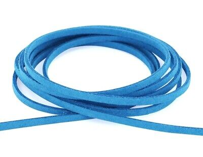 (5 metres, Turquoise) - Auroris- Faux suede leather cord - flat 3 mm - length