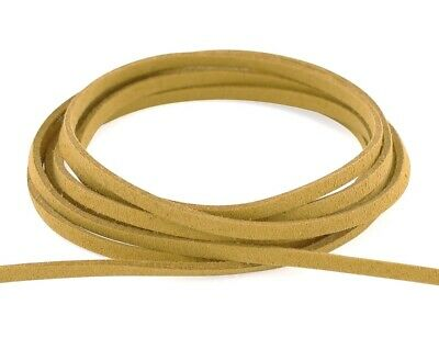 (5 metres, ochre-brown) - Auroris- Faux suede leather cord - flat 3 mm -