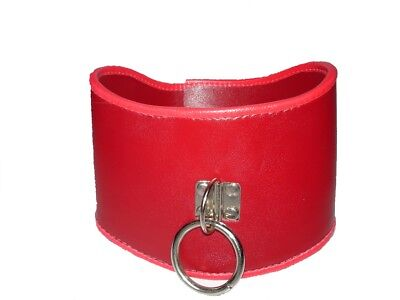 Red faux LEATHER locking POSTURE COLLAR with ring CO-07-RED, FREE UK DELIVERY
