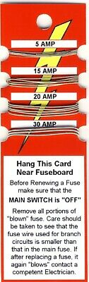 Fuse Wire Card - 5 Amp 15 Amp 20 Amp 30 Amp - Free Postage