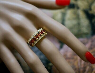 Antique Deco Jewellery Ring Rubies White Sapphires Vintage Dress Jewelry  8 P1/2