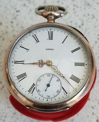 Very Early Swiss Omega Silver Gilt Pocket Watch Large