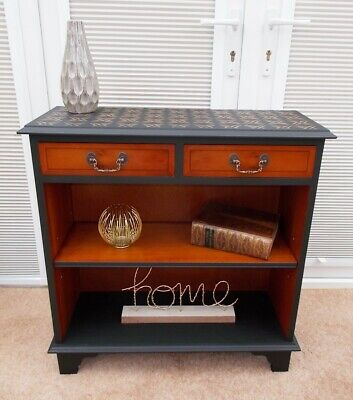 Shabby Chic Vintage Black Console Table Bookcase Hall Cabinet Sideboard Dresser