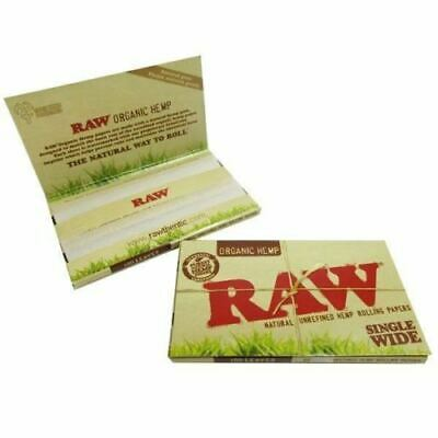 Full Box Of RAW Natural Single Wide Organic Hemp Double Rolling Papers 25 Packs