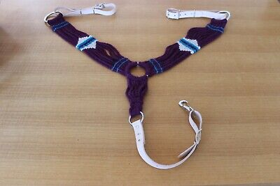 Mohair horse breast collar. Purple/natural/abiqui blue. Leather is natural.