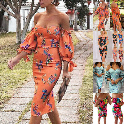 Womens Off Shoulder Floral Bodycon Dress Evening Party Frill Ruffle Short Dress