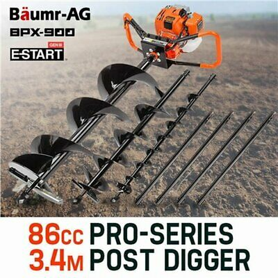 NEW 86cc Powerful 2-stroke Baumr-AG Petrol Auger Post Hole Digger Fence Borer