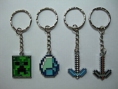 Minecraft themed Creeper Diamond Pickaxe Diamond Keyring Keychain gr8 party gift