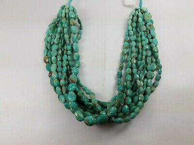 """Natural Faceted Oval Turquoise Gemstone Beads 1 Strand 13"""" 7*9 mm appx 53.40 ct."""