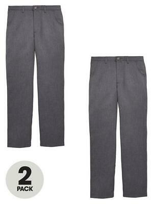 V by Very Boys 2 Pack Teflon Coated Grey School Trousers Age 16