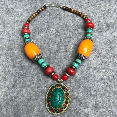 30cm Nepal Colorful Stone Handmade Necklace Antique Tibetan Jewelry Turquoise