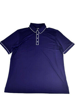 Adidas Men's Large PureMotion Golf Polo Short Sleeve Shirt Purple White