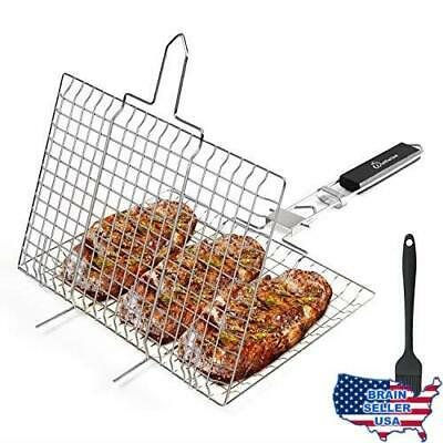 WolfWise Stainless Steel Portable BBQ Grilling Basket for Fish Vegetable Steak S