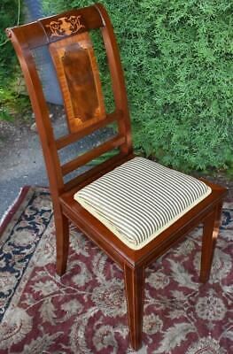 1910s Antique English Sheraton solid Mahogany inlaid side chair New Upholstery