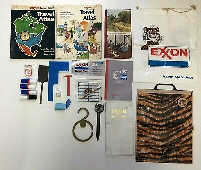 Vintage Exxon Travel Club 22 Piece Lot Tiger Bags Atlas Maps Stickers Kits More