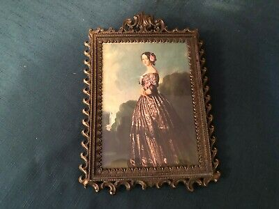 Vintage Ornate Metal Frame PICTURE OF LADY Made in Italy CET-220