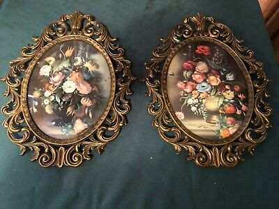 Vintage  Made in Italy Brass Ornate Picture Photo Frames Frames WITH FLOWERS