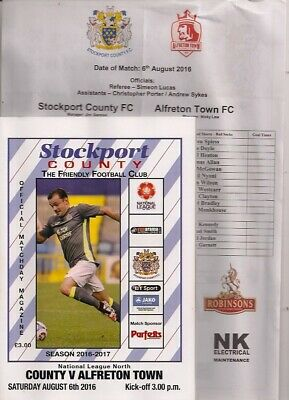 Stockport County v Alfreton Town Programme w/ Teamsheet NLN August 6th 2016