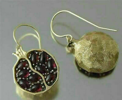 Gold Filled Pomegranate Ruby Vintage Earring Dangle Hook Jewelry Wedding Party