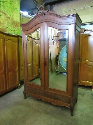 Antique French carved oak 2 door mirrored armoire,wardrobe,Flat packs C1900