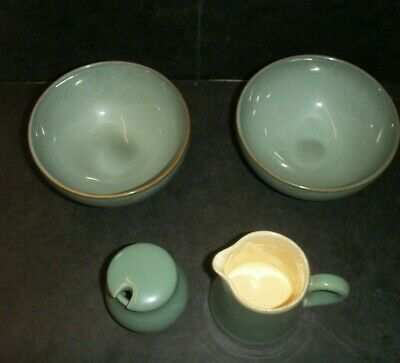 Denby Stoneware - 2 Deep Bowls, Cream Jug & Mustard Pot - Regency Green