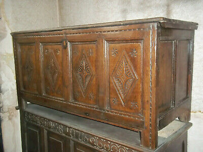 18th Century Antique Oak 4 panel Coffer Chest carved panels Offers