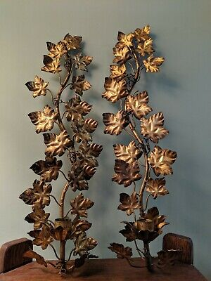 Pair of Vintage Italian Florentine 1-arm Wall Sconce Candelabras - Great Patina