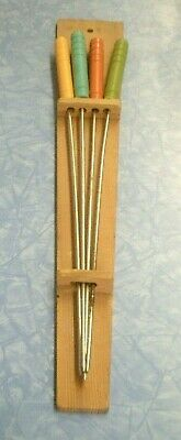 Set of 4 Vintage Mid Century Modern Mod Style BBQ Skewers W/ Wall Display Holder