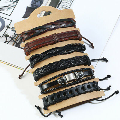 JQ_ AU_ 6Pcs/set Multilayer Braided Leather Rope Men's Bracelet Wristband Jewe