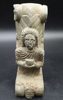 Very Old Ancient Ghandhra Kingdom Siting Famle Worship Buddah Craved Sculpture
