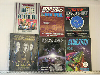 Star Trek Books Encyclopedia Manual Chronology Worlds Continued Mission Lot of 6