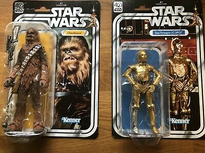 "Chewbacca & C3PO 40th Anniversary Star Wars Black Series 6"" Figures"