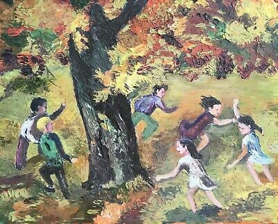 Original Oil on Board Children Playing Slice of Life Autumn Leaves Movement 1950
