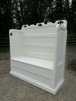 Traditional Painted F&B Solid Pine Panelled Church Pew Settle Monks Bench