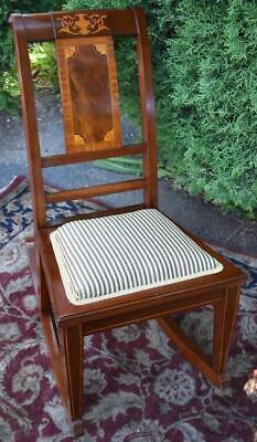 1910 Antique English Sheraton solid Mahogany inlaid Rocking chair New Upholstery