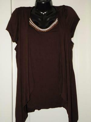 Medium BROWN Beaded Pearl Bronze ATTACHED JACKET Top Pull Over Ladies NEW$46