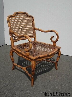 Vintage French Country Cane Faux Bamboo Accent Chair w Scrolled Armrests Italy 2
