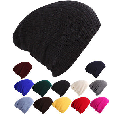 JQ_ AU_ Unisex Solid Color Ribbed Elastic Winter Autumn Knitted Hat Warm Beani