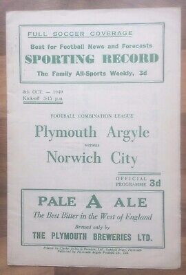 Plymouth Argyle Reserves v Norwich City Reserves  - 8th October 1949